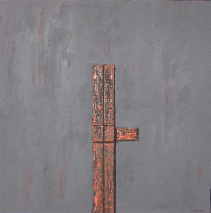 skulptur 100 x 100 grau, rot