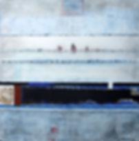 im hafen 100 x 100 blau, nachtblau, weiß, weinrot, Palmfasern, Papier