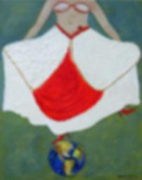 Traumtanz 100 x 80  Weiss,rot, grün, grau-blau, gold und Papier- Wer wäre nicht einmal gerne ein Traumtänzer? Tanze Deinen Traum und verlasse die Erde - nur für einen Moment ...!