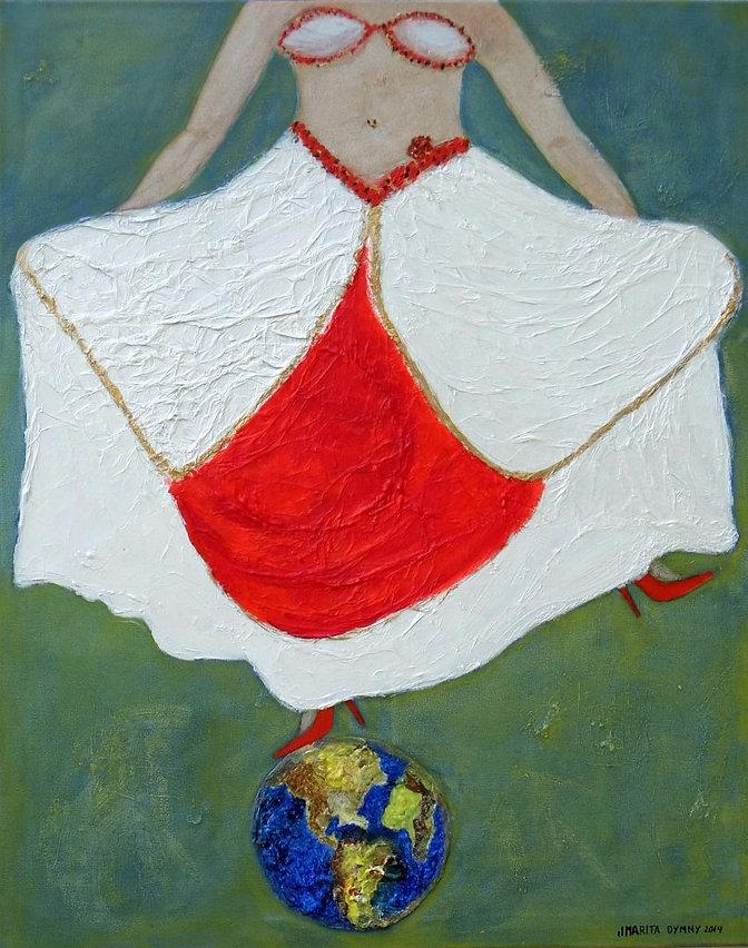 Traumtanz 100 Xx 80 weiß, rot, grün, grau-blau, gold und Papier - Wer wäre nicht einmal gerne ein Traumtänzer? Tanze Deinen Traum und verlasse die Erde - nur für einen Moment ...!