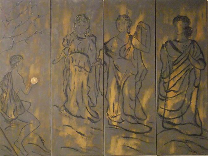die wahl 4 je 120 x 40 ocker-beige, grau, Rostmit Blattgold - Paris wird von Hermes gebeten, auszuwählen, welche der drei GöttinnenHera,AtheneundAphroditedie schönste sei, woraufhin diese versuchen, ihn zu bestechen. Paris trifftsein Urteil: Nachdem ihm Hera Macht verspricht und Athene Ruhm, entscheidet er sich für Aphrodite, die ihm die Hand der schönsten Frau auf Erden, Helena, der Frau desMenelaos, König vonSparta, versprochen hat. Die anderen beiden Göttinnen sind enttäuscht, Hera schwört Paris und den Trojanern ewige Feindschaft. Ihr Hass trägt zum Untergang Trojas bei und verfolgt den TrojanerAeneasauch noch auf seinen Irrfahrten.