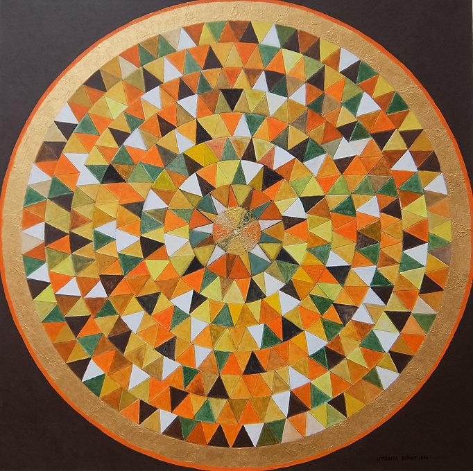 """KALEIDOSKOP 100x 100 orange.bunt, goldfarben auf braun - Kaleidoskop bedeutet wörtlich aus dem griechischen übersetzt: """"Schöne Formen sehen"""".  Doppel(-licht)brechendeKristallewerden in einer spiegelnden Metallröhre betrachtet."""