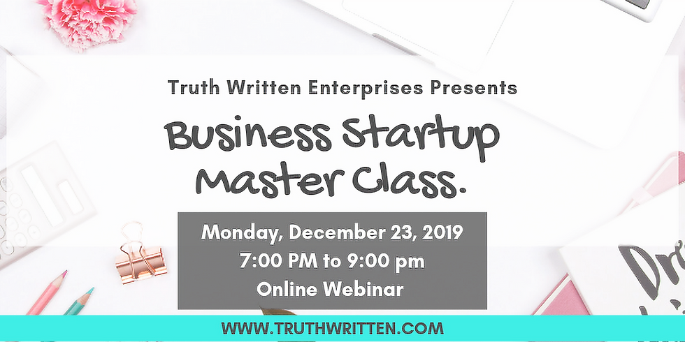 Business Startup Master Class  (Online)
