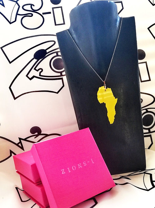 Yellow Fill Africa Pendant Necklace