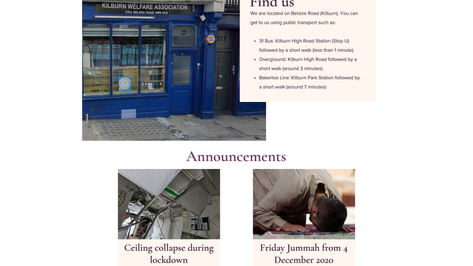 Mosque landing page