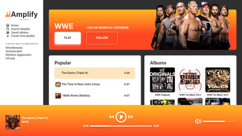 WWE Music profile on a Web Application
