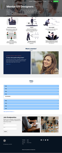 Mentors Page detailed wireframe