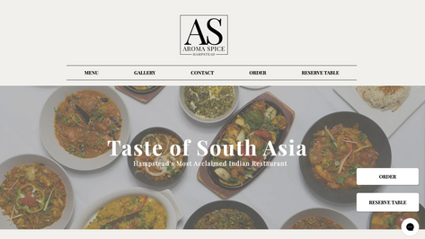 Aroma Spice Desktop Site above the fold
