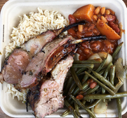 GRILLED LAMB CHOPS  Served over our savory rice and with Bourbon peach baked beans and string beans. Who says pop-ups can't be fancy!