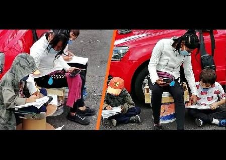 Mamá franelera, usa internet público para apoyar a sus hijos en las tareas escolares