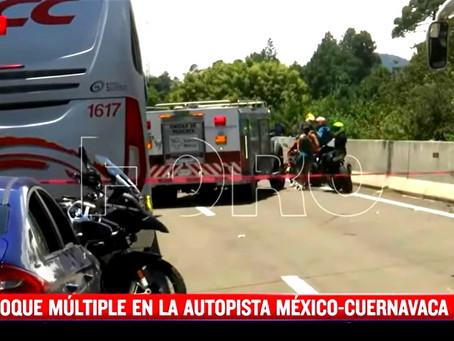 ¡TRAGEDIA! Tráiler embiste a motociclistas en la México-Cuernavaca; hay 7 muertos y 15 heridos