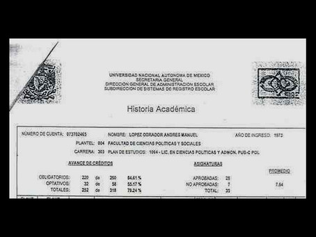 Filtran el historial académico de López Obrador en la UNAM