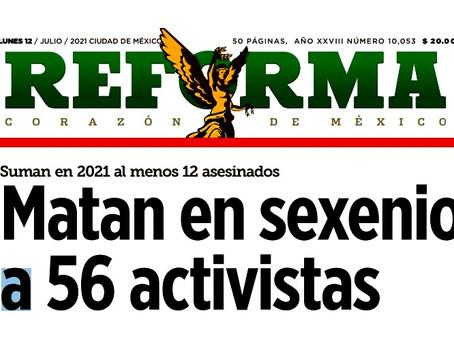 """""""El Reforma se dedica a atacarnos"""", señala López Obrador ante la publicación de 56 activista muertos"""