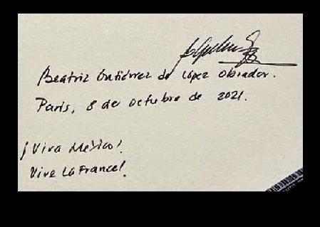 """Beatriz Gutiérrez de López Obrador, 8 de octubre de 2021. ¡Viva México! Vive La France!"""