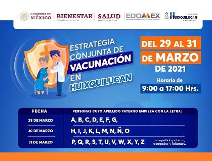 El lunes 29 de marzo, inicia vacunación contra COVID a adultos mayores en Huixquilucan