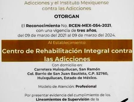 Secretarías de Salud federal y estatal, reconocen al CRIA Huixquilucan