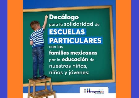 Vargas del Villar, anuncia decálogo para la solidaridad de escuelas particulares con las familias