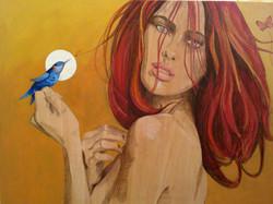 mujer y pájaro