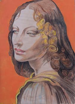 El Angel de La Virgen de las rocas de Leonardo da Vinci.
