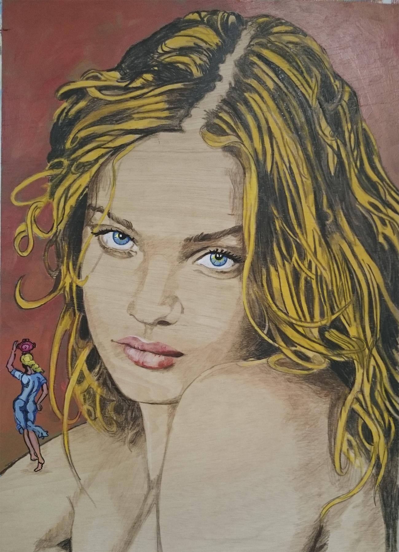 Natalia y un dibujo de Salvador Dali