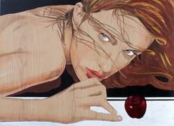 Modelo y manzana