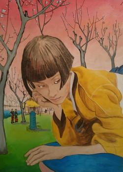 Japonesa y un grabado de Hiroshige