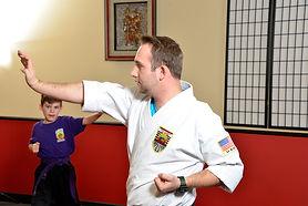 Sensei Zach instructing a martial arts class in Poway