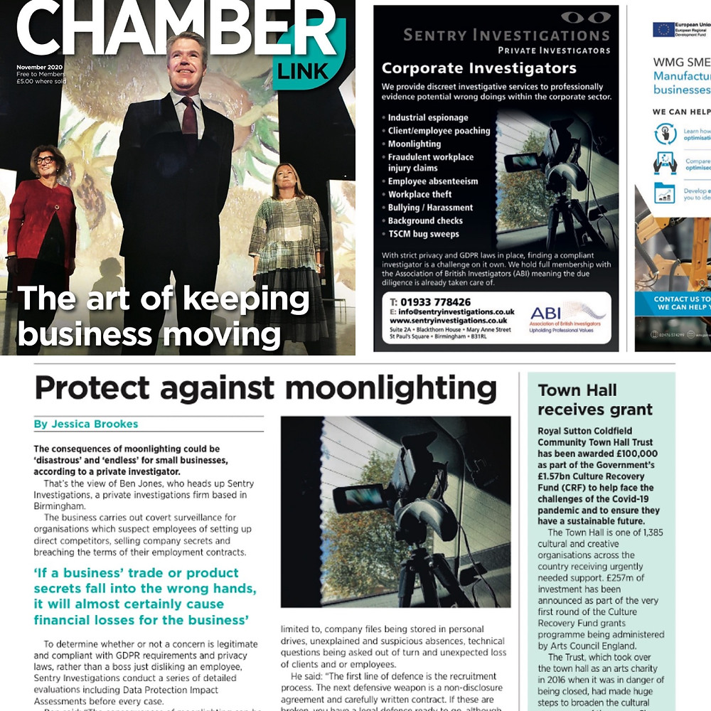 Sentry Investigations featuring in Chamberlink Magazine