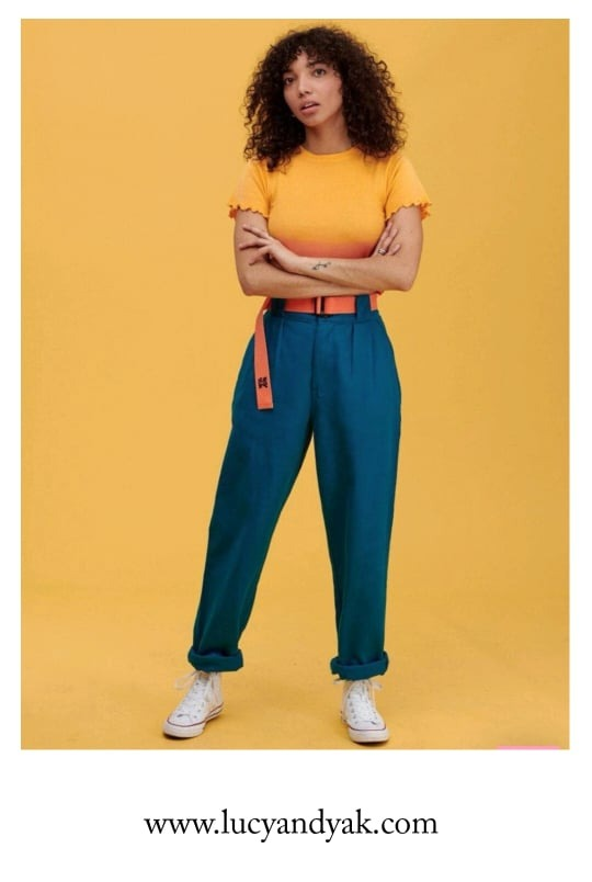 'Addison' High Waisted Organic Cotton Twill Jeans in Petrol Blue