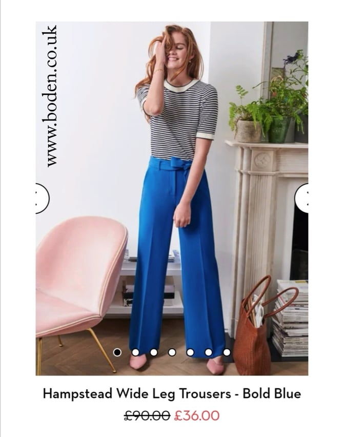 Hampstead Wide Leg Trousers - Bold Blue