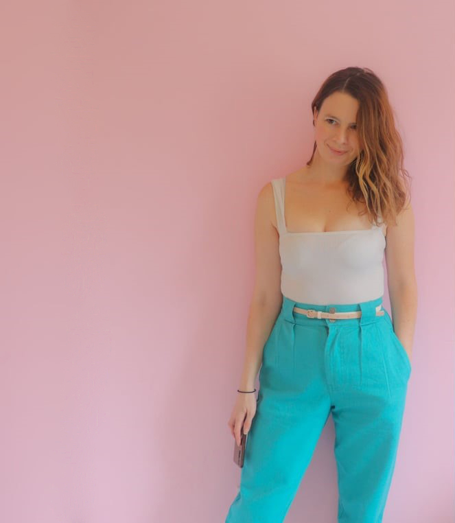 'Addison' High Waisted Organic Cotton Twill Jeans in Jade