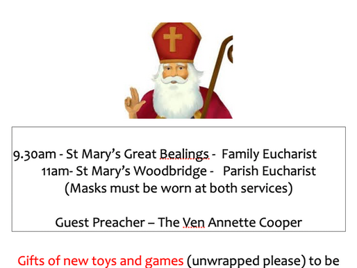 The Feast of St Nicholas Sunday 6th December!
