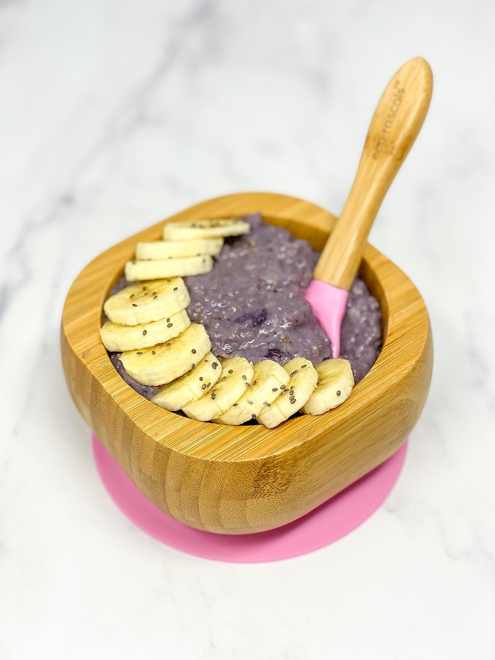blw SIMPLE BLUEBERRY PORRIDGE in bamboo bowl