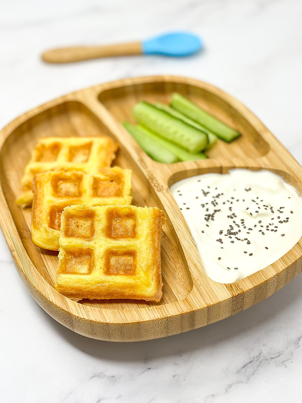 CHAFFLE served on bamboo plate for blw