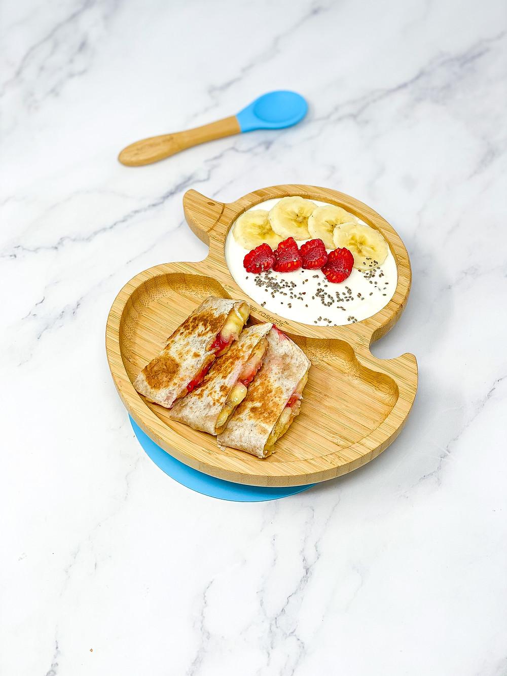 BREAKFAST QUESADILLA 2 WAYS in bamboo duck plate