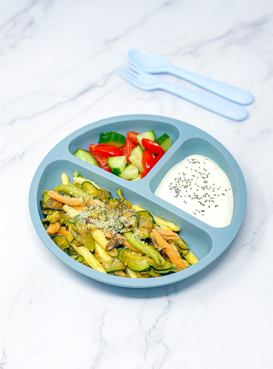 EASY COURGETTE PASTA with italian colours for kids