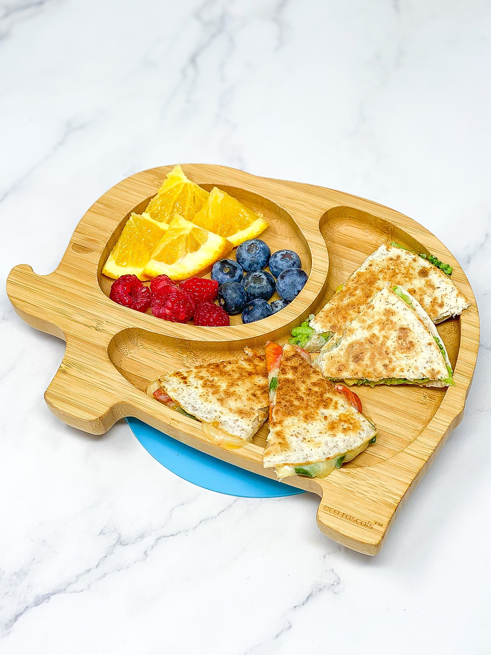 Broccoli Quesadilla served in bamboo blw kids plate of eco rascals