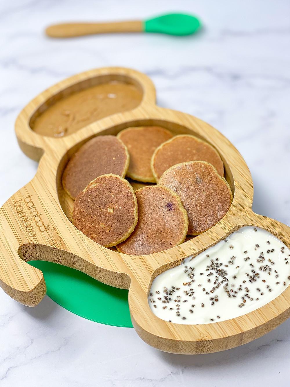 MINI BANANA & BLUEBERRY PANCAKES in elephant bamboo plate for kids blw
