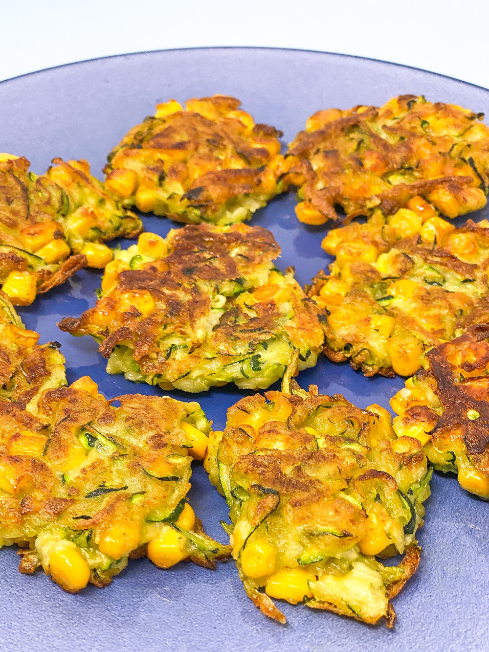 COURGETTE SWEETCORN FRITTERS on the plate