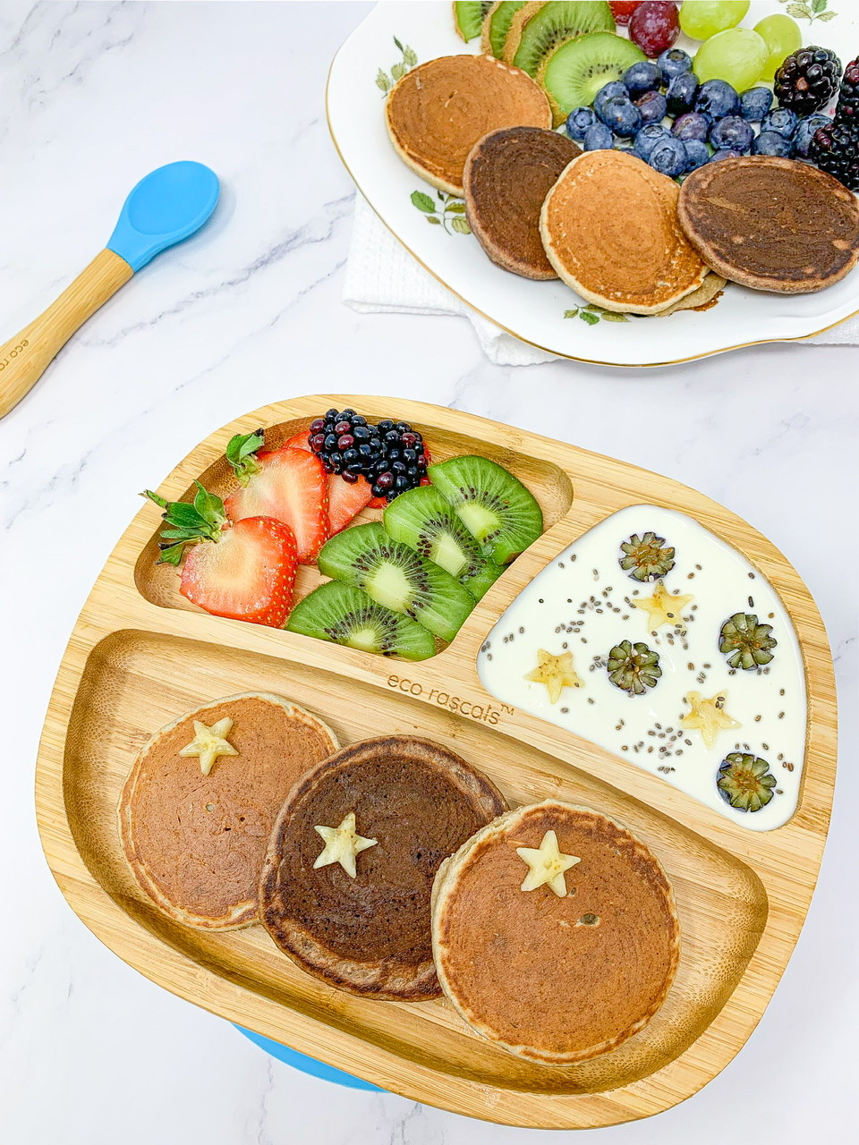 CHOCO-PEANUT BUTTER & PEANUT BUTTER PANCAKES in bamboo plate