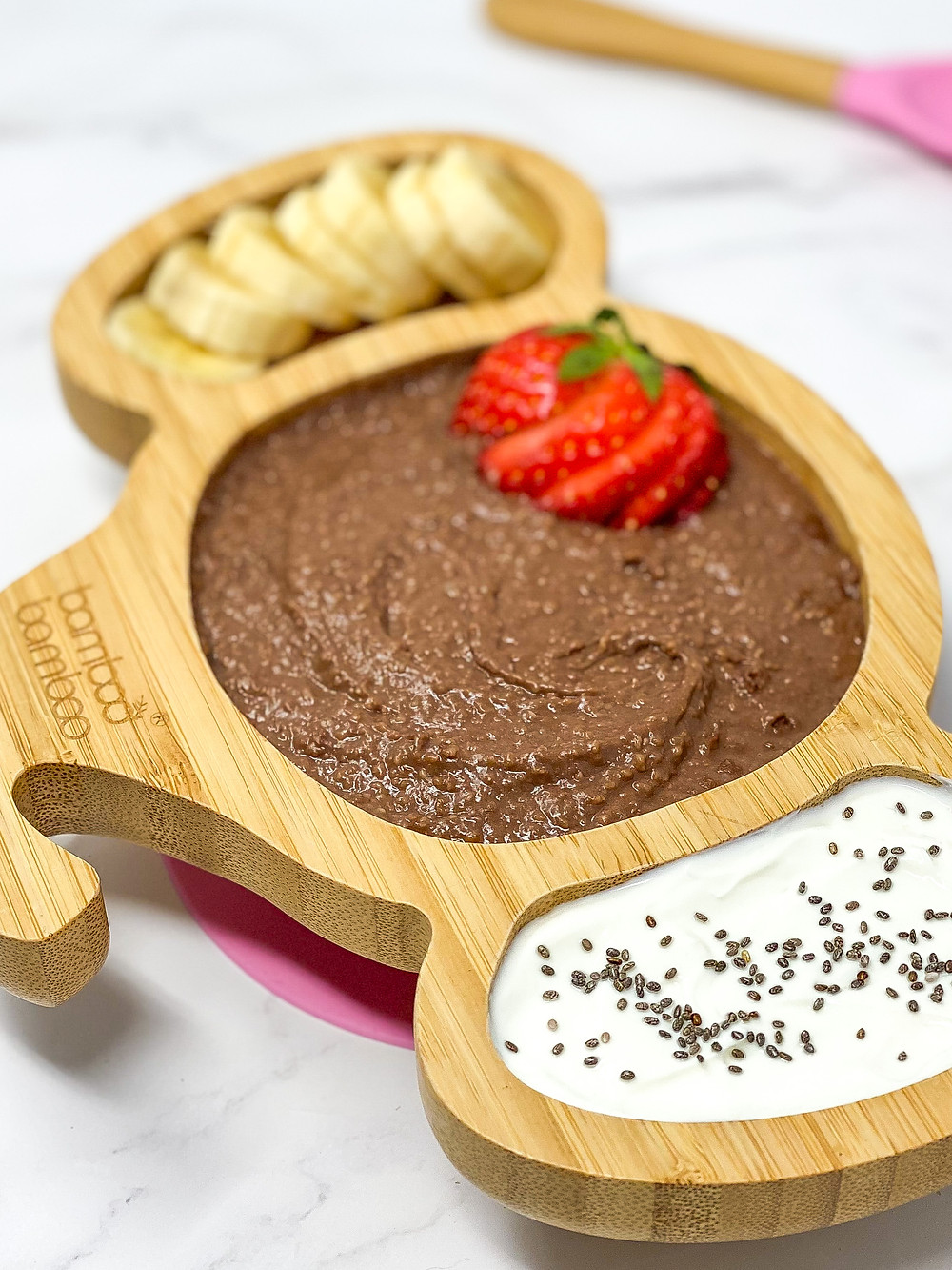 """OAT CHOCOLATE """"PUDDING"""" served in bamboo kids plate"""
