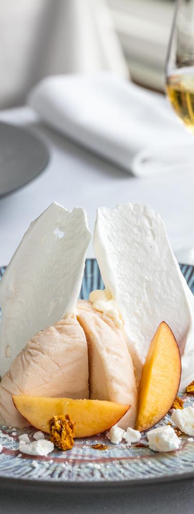 Roast Nectarine honey frozen yogurt