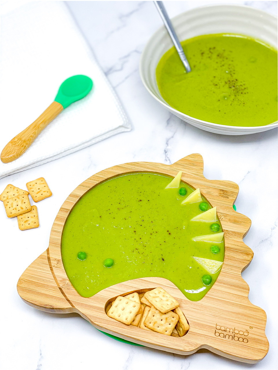 EASY PEAS & COURGETTES SOUP in bamboo bamboo plate dinosaur plate
