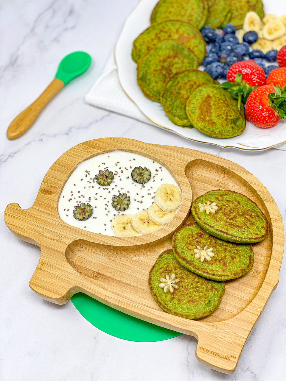 BABY SPINACH BANANA PANCAKES in bamboo plate