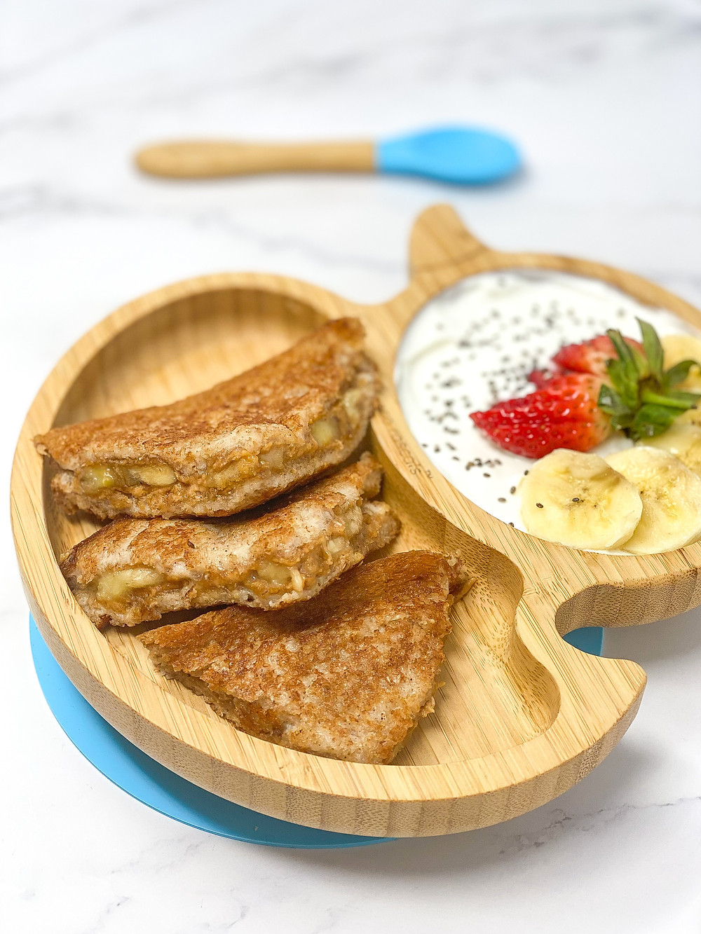 STUFFED FRENCH TOAST -EGG FREE- served in bamboo kids plate