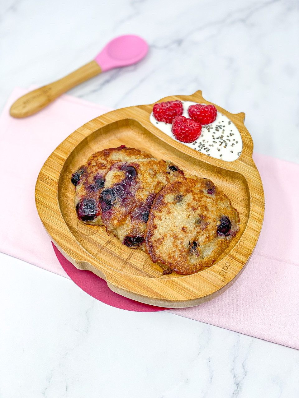 BANANA BLUEBERRY FRITTERS in bamboo fish plate