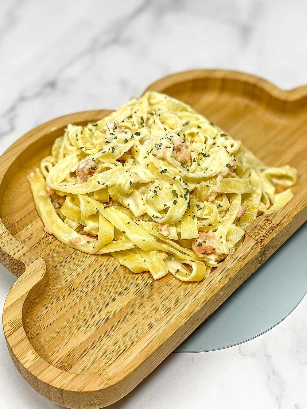 CREAMY SALMON PASTA in bamboo kids plate for blw