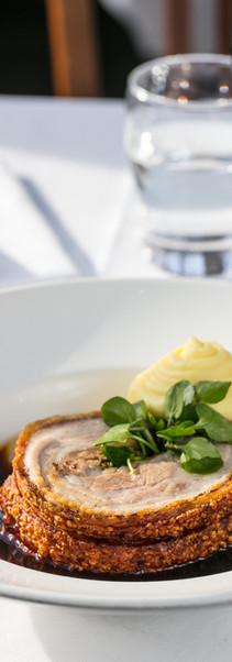Roast Pork belly with mashed potato