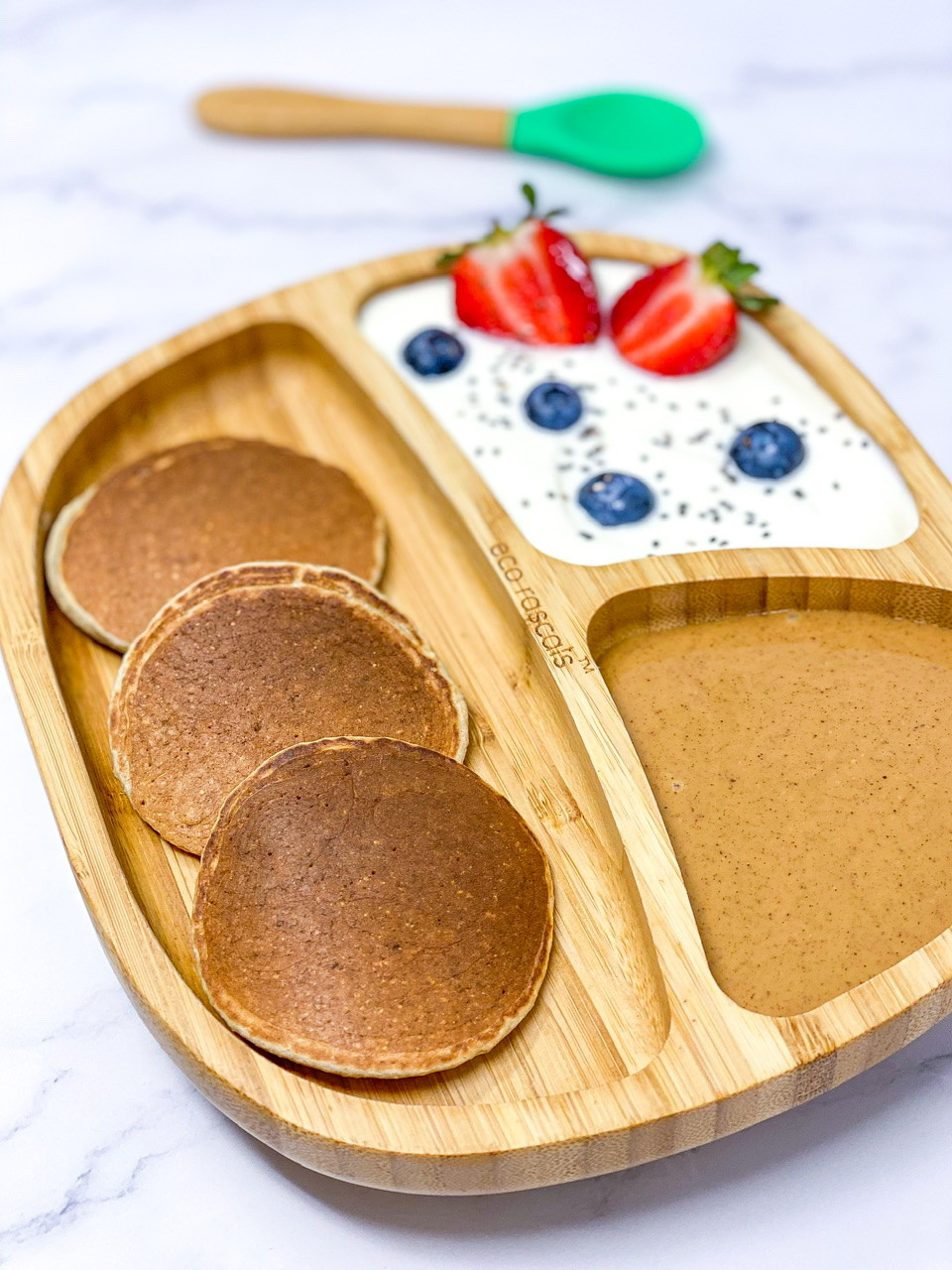 BLW BANANA PANCAKES • EGG FREE on toddle bamboo funny plate from ecorascals