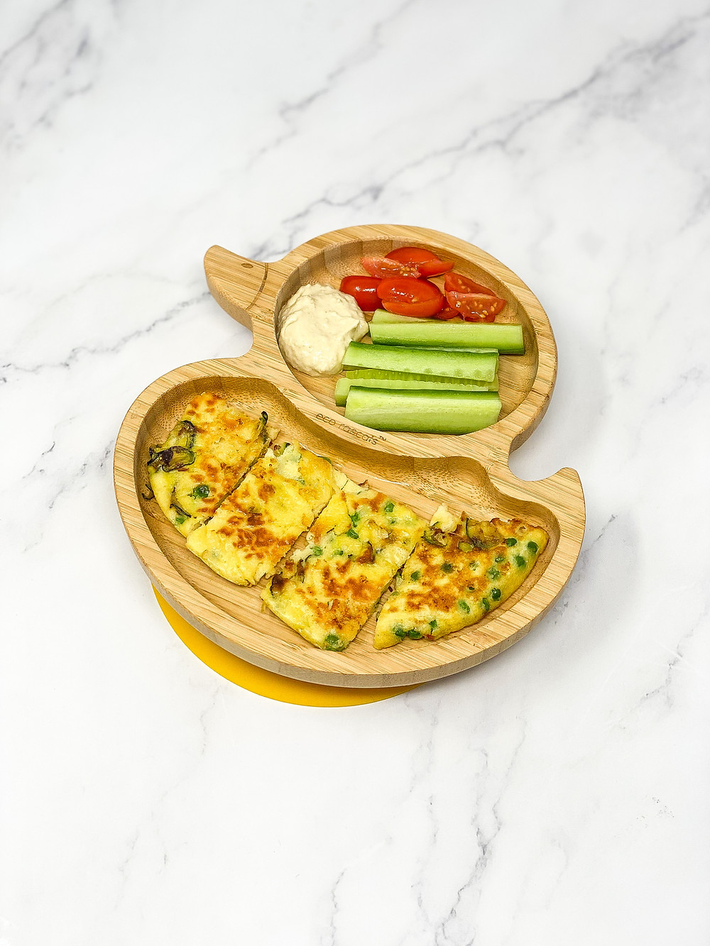 COURGETTE & PEAS OMELETTE served in ecorascals plate